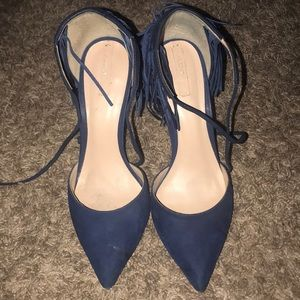 Blue fringed Aldo heels
